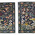 A pair of military official's Lion rank <b>badges</b>, Qing Dynasty, 18th century