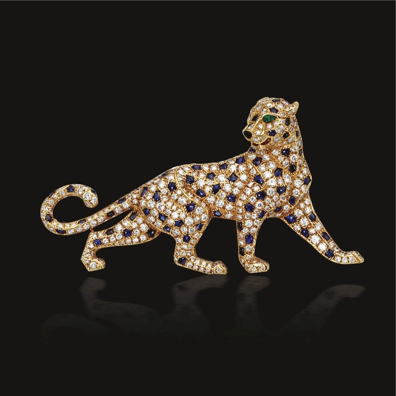 Diamond and sapphire panther brooch, Cartier, Paris