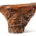 A finely carved rhinoceros horn '<b>Landscape</b>' libation cup, 17th century