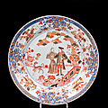 Plat rond dcor dans la palette Imari du gouverneur <b>Duff</b> et son pouse. Chine de commande. Premier tiers du XVIIIme sicle
