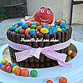 Gateau M&M'<b>s</b> - M&M'<b>s</b> cake - personnage en pâte à sucre.