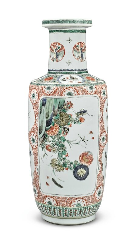 An iron-red ground famille-verte rouleau vase, Qing dynasty, Kangxi period (1662-1722)