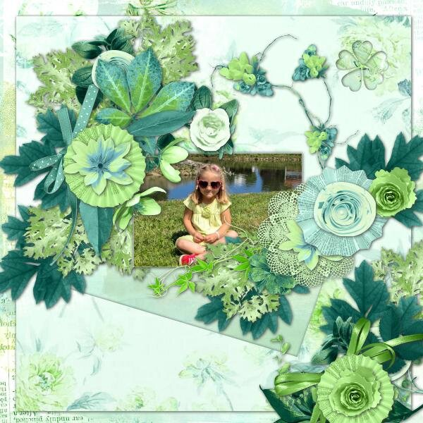 Kastagnette - template 18 et kit 50 shades of green - photo Nounou-