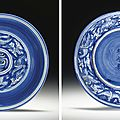 A rare reverse-decorated <b>blue</b> and white dish , Jiajing six-character mark in underglaze <b>blue</b> and of the period (1522-1566)