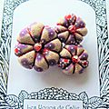♥ MYLA ♥ Broche textile japonisante fleurs potirons - Les Yoyos de Calie