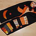Echarpe longue noire orange polaire originale <b>cache</b> <b>nez</b> hiver femme