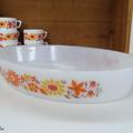 Vaisselle Vintage ... Grand plat four Arcopal * Marguerite et Tournesol