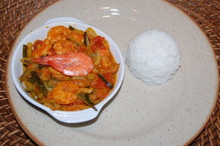 recettes  Crevettes au curry
