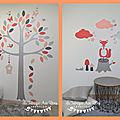 Stickers renard arbre - Corail Saumon gris argent - Décoration chambre bébé fille forêt scandinave oiseaux <b>papillons</b> nuages