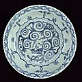 A big <b>blue</b> and white porcelain dish, Wanli mark and period (1573-1619)