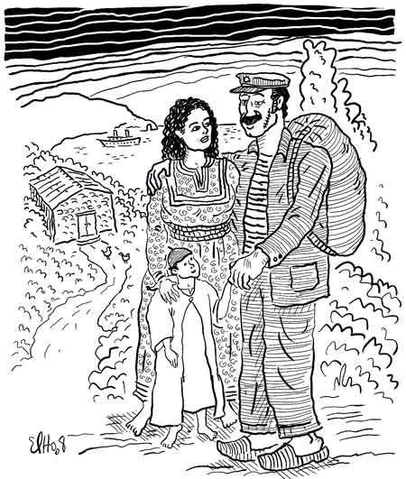 A Mmi album Izlan Ibahriyen, Chants des Marins Kabyles; dessin d'Elho