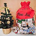 Pochette Cadeau Sac en Tissu Noël Pochon Cadeau de Noël