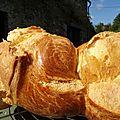 <b>Brioche</b> feuilletée, moelleuse, soyeuse, parfumée, pur beurre de ferme, oeufs du poulailler et vanille Bourbon