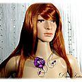 Parure fil aluminium argenté violet collier bracelet boucles d'oreilles fleur satin perles