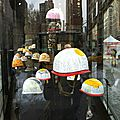 Cindy Kane Exhibition in NEW YORK, helmets for reporters...