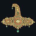 A Mughal gemset gold and enamelled turban ornament (sarpech), North <b>India</b>, 19th century