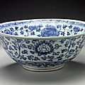 Large Bowl (Wan) with <b>Lotuses</b> and Floral Scrolls, middle Ming dynasty, about 1450-1550