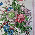 1920 Joli <b>tissu</b> <b>ancien</b> a rayures roses et bouquets fleuri