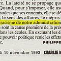 Quand <b>Philippe</b> <b>Val</b> dénonçait l'exclusion des musulmanes voilées et le racisme institutionnel dans Charlie Hebdo (1993)