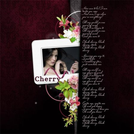 "Scrapbook freebie quick page ""Black Cherry""by Mediterranka"
