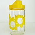 Vintage ... Pot en verre HENKEL 72cl * Fleurs <b>jaunes</b>