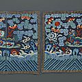 A pair of embroidered silk military rank <b>badges</b>, 19th century