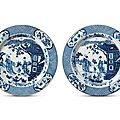 A pair of blue and white '<b>Ladies</b>' chargers, Kangxi period (1662-1722)