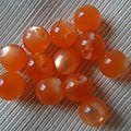 Lot de 12 boutons en forme de perle, coloris <b>orangé</b>