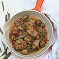 Émincé de dinde aux olives et feuilles d'olivier