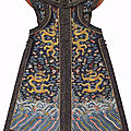 A very rare imperial midnight-<b>blue</b> <b>dragon</b> vest, chaogua, 19th century