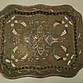 Ancien Plateau Email Russe Russian Enamel Tray