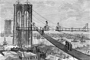 Brooklyn-Bridge construction