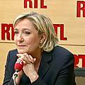 Sur RTL, Marine Le Pen