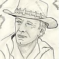 Dessin portrait de star: Paul Hogan ... Crocodile Dundee