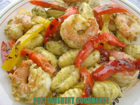 Gnocchis Pesto et crevettes sautes