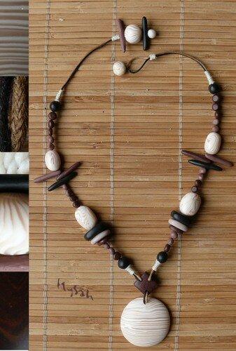 Colliers : Collier Ethnique Os - Les Créations d'Hysah