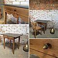 <b>Table</b> à festons et sa chaise Thonet en bois brut poncé
