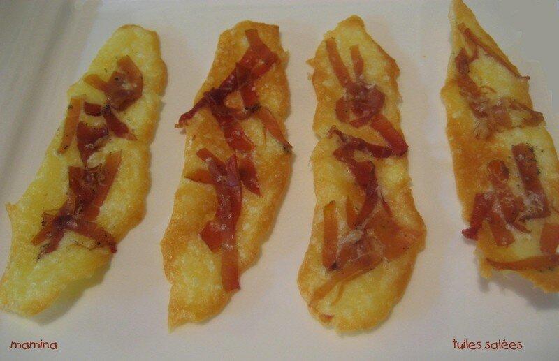 tuiles transparentes au jambon sec