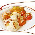 Poêlée d'abricots au sirop d'érable, glace au lait d'amande