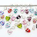 Lot de 20 perles en verres coeur