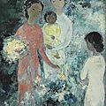Vũ Cao Đàm (1908-2000), Trois jeunes femmes avec un enfant (Three young <b>ladies</b> with a baby), 1964