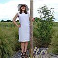 VENDUE Robe Drapée Blanche taille 38 <b>Eté</b> Lin, Coton et Mousseline