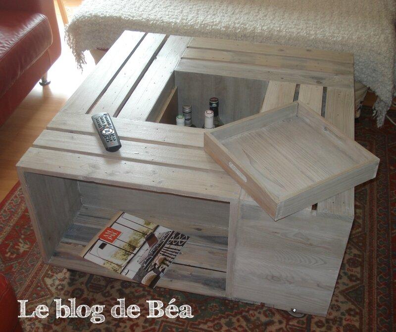 Diy table basse bar en bois de palette for Table de nuit en palette