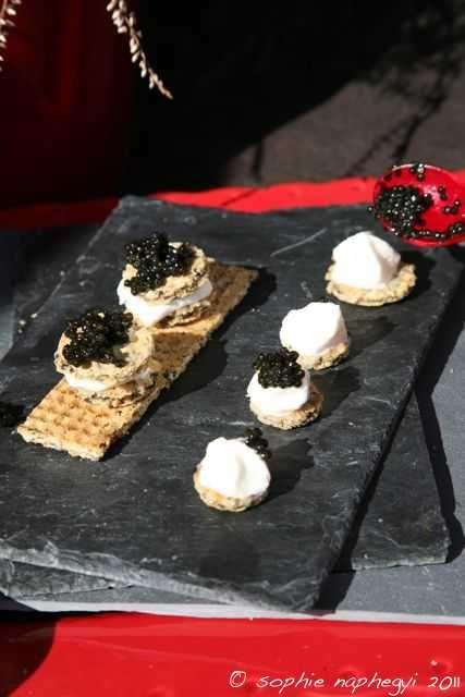 gaufrettes et espuma pour caviar