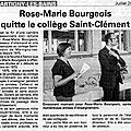 PRESSE : Départ à la retraite de Mme Bourgeois