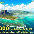 == 21 février 2017 == L'UPR FRANCHIT LE CAP DES 16000 ADHÉRENTS.