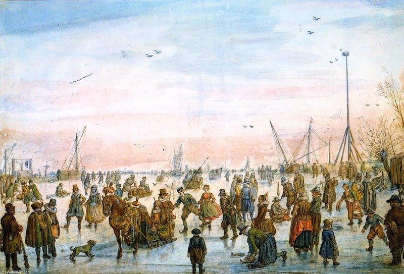 Hendrick-Avercamp-Numerous-Figures-on-the-Ice-at-Sunset