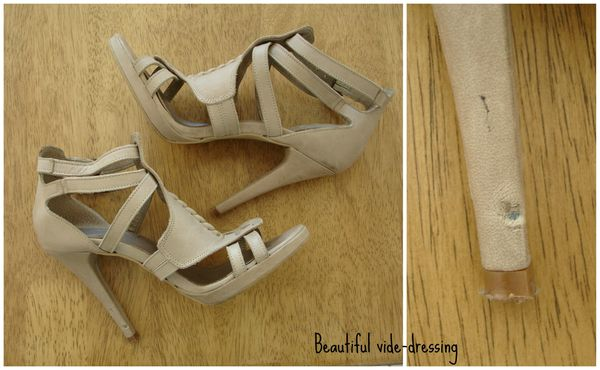 Sandales talon beige TEXTO