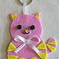 Porte-clé petit chat rose