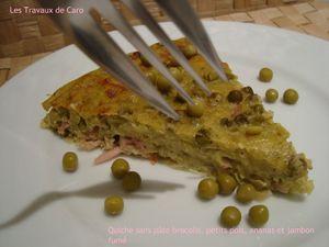 quiche sans pâte brocolis, petits pois, ananas et jambon fumé2